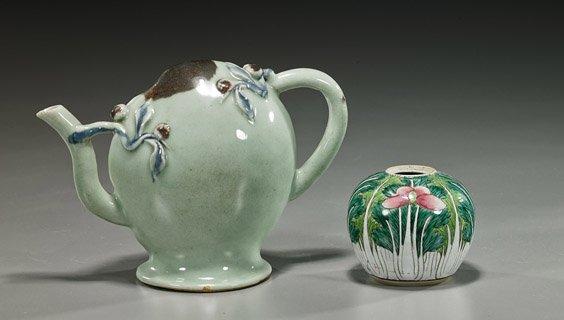 Celadon Glazed Teapot & Enameled Jarlet