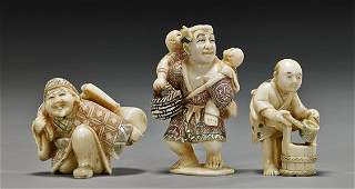 Three Old Carved Ivory Figural Netsuke