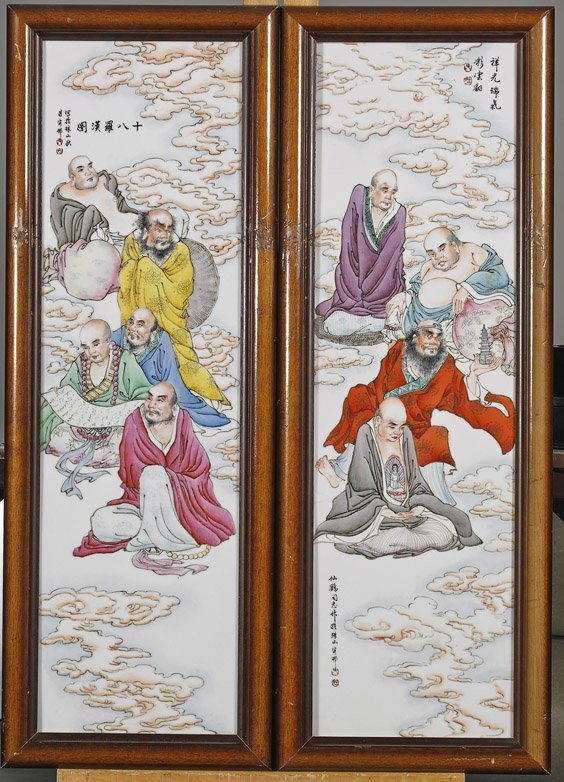 Four Chinese Famille Rose Porcelain Plaques