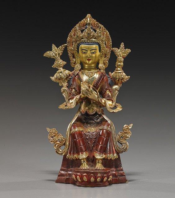 Nepalese or Tibetan Bronze Buddha