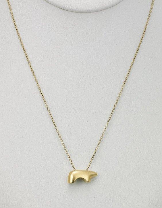 14K Gold California Bear Pendant Necklace
