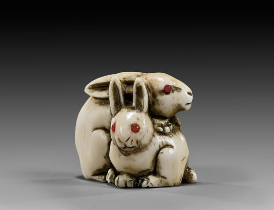 ANTIQUE IVORY NETSUKE: Two Rabbits