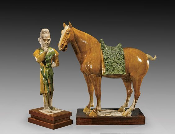 IMPORTANT TANG DYNASTY POTTERY HORSE & GROOM