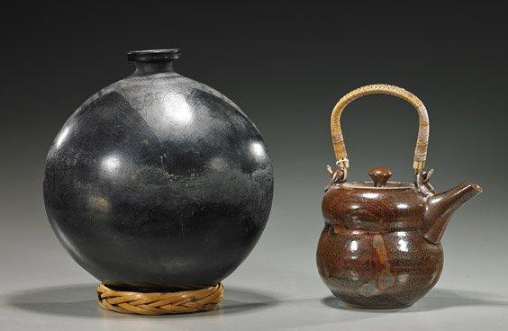 Black Pottery Moon Flask & Glazed Teapot