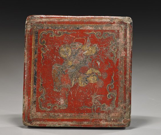 Antique Chinese Tile with Lacquer Scene