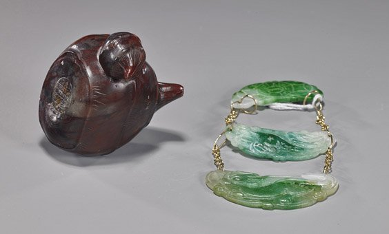 Carved Jadeite Pendant & Sealstone Carving