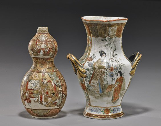 Two Antique Japanese Satsuma Vases