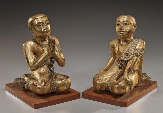 Pair Antique Thai Gold Lacquered Figures