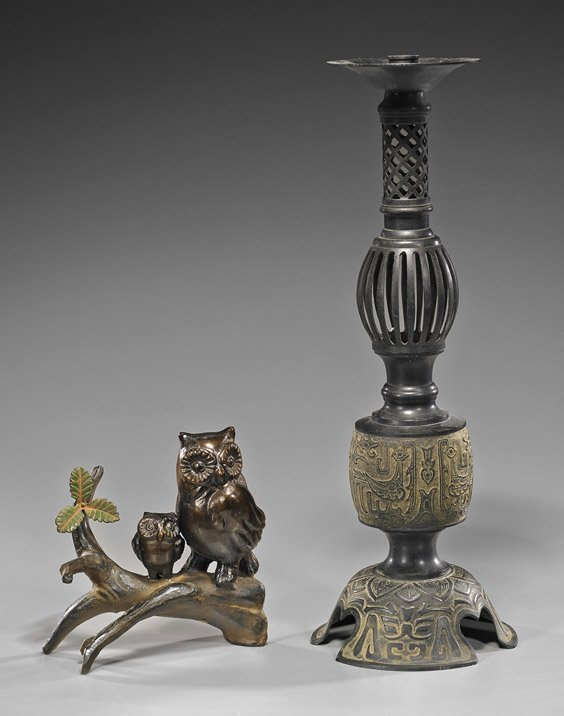 Two Japanese Bronzes: Owl & Candle Holder