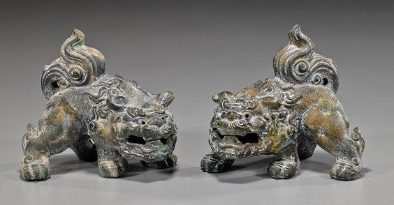 Pair Japanese Gilt Iron Crouching Shi-shi
