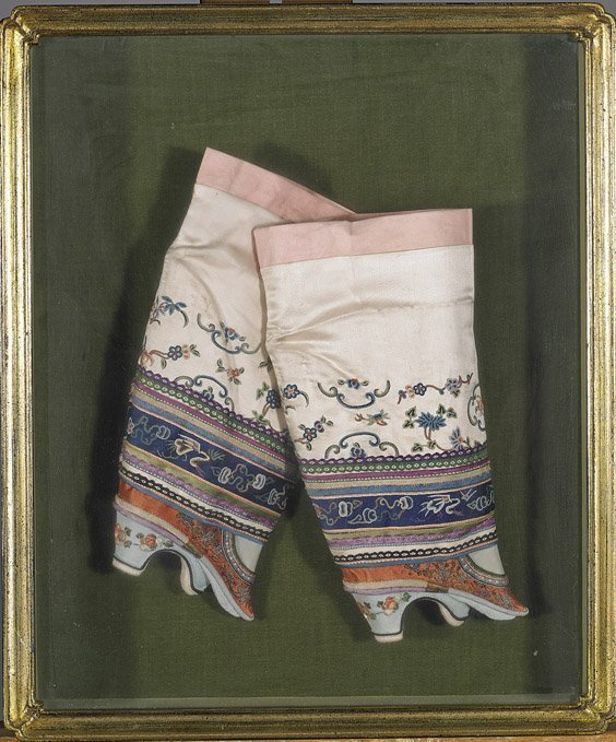 Pair Antique Chinese Embroidered Silk Shoes