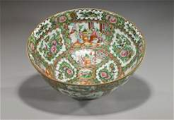 Antique Chinese Rose Medallion Punch Bowl