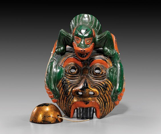 Japanese Lacquered Paper Machè Mask