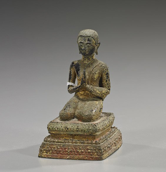 Antique Thai Gilt Bronze Buddhist Figure
