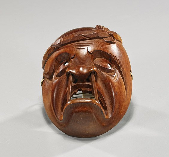 Small Japanese Carved Wood Face Mask