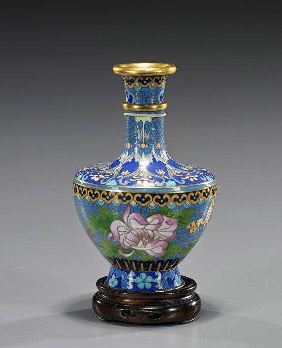 Chinese Cloisonné Enamel Floral Vase