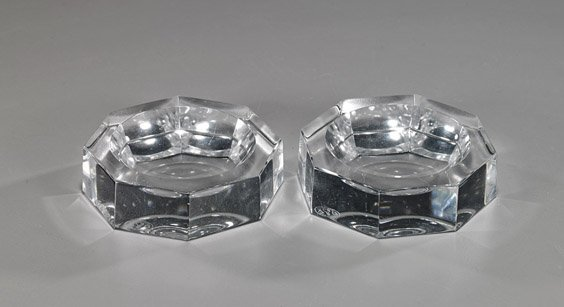Pair Signed Baccarat Glass Salt Dishes