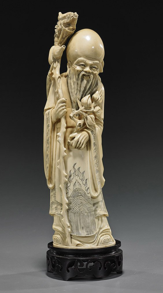 Chinese Carved Ivory Standing Shoulao
