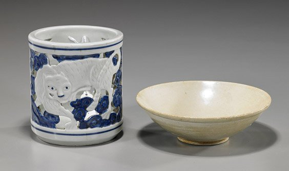 Two Asian Ceramic Items: Bowl & Brushpot