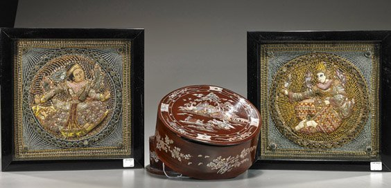 Pair Small Framed Kalagas & Inlaid Box