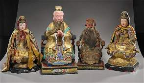 Four Large Chinese Lacquered Temple Figures