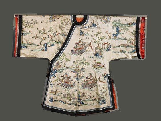 Elaborate Chinese Embroidered Silk Robe