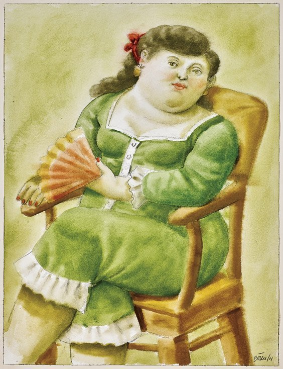 IMPORTANT WATERCOLOR BY F. BOTERO: Lady with Fan