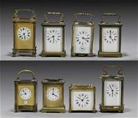 EIGHT ANTIQUE FRENCH CARRIAGE CLOCKS