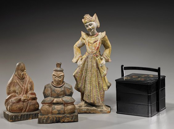 Three Carved Wood Figures & Stacking Box