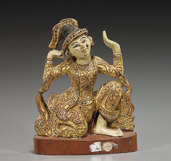 Antique Southeast Asian Lacquered Figure