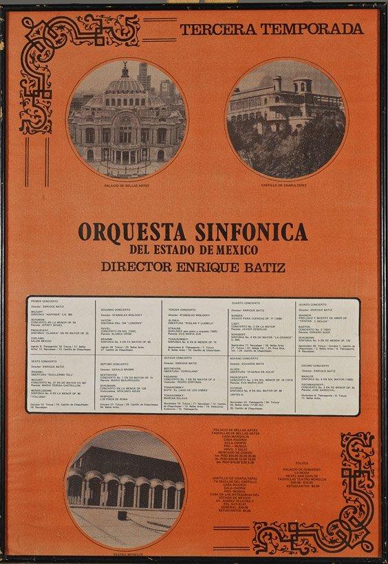 Mexican 'Orquesta Sinfonica' Poster/ Program