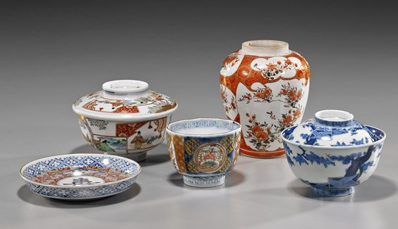 Group of Five Old Japanese Ceramics