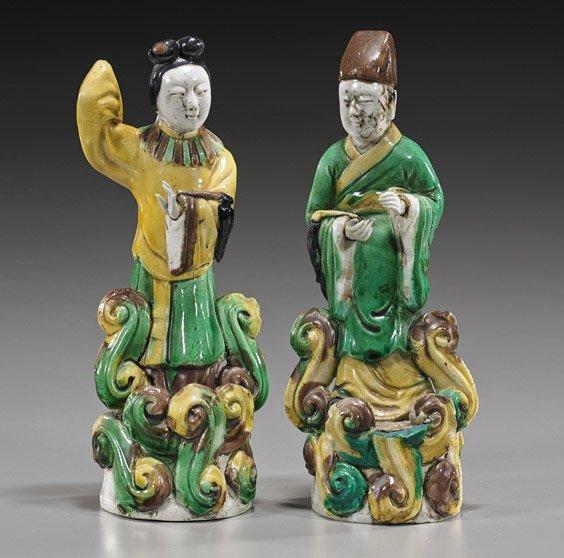 Pair Antique Chinese Porcelain Figures