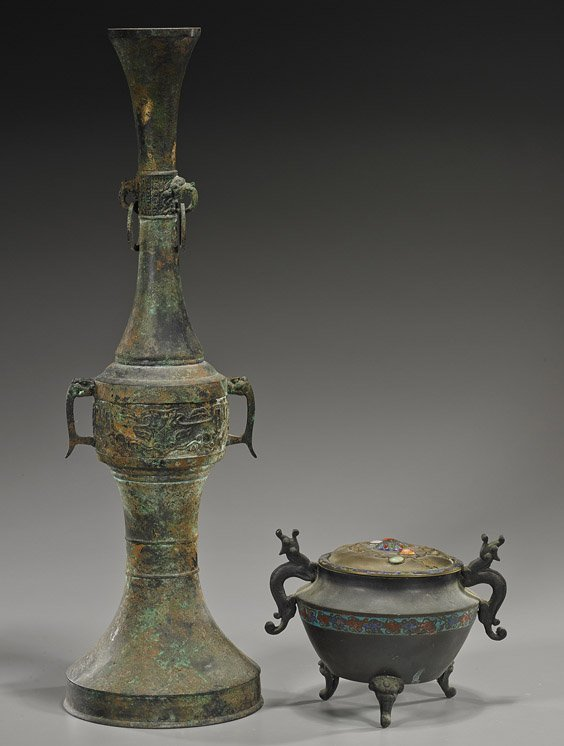 Two Various Asian Chinese Bronze Vessels