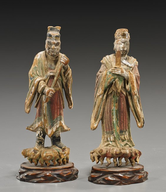 Pair Antique Chinese Carved Wood Figures