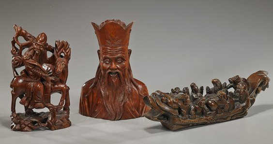 Three Older Chinese Figural Wood Carvings