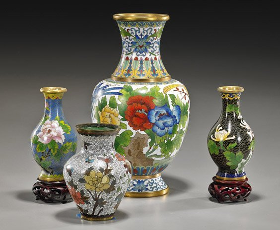 Four Old Chinese Cloisonné Enamel Vases