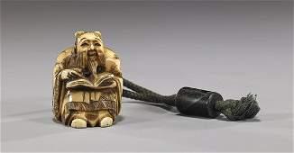 Antique Carved Ivory Figural Netsuke