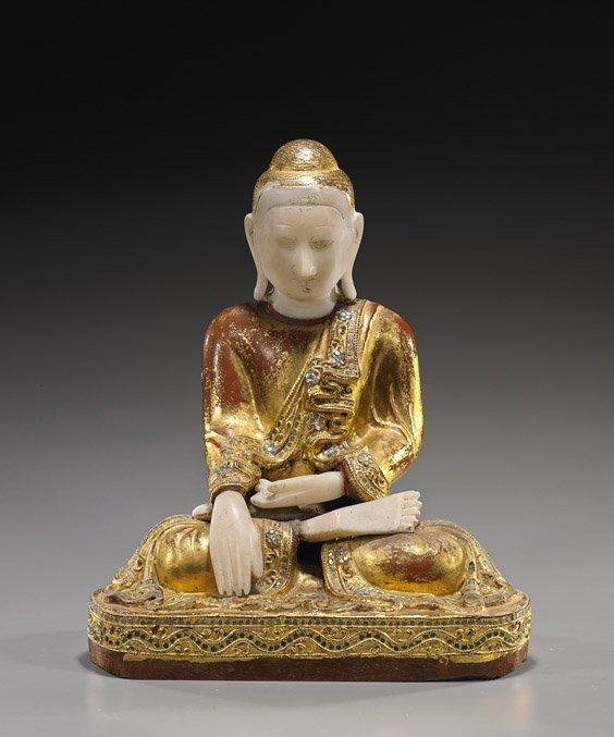 Antique Southeast Asian Wood & Alabaster Buddha