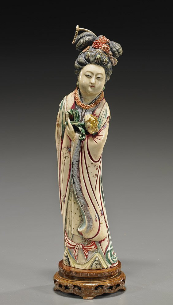 Chinese Carved & Polychromed Ivory Guanyin