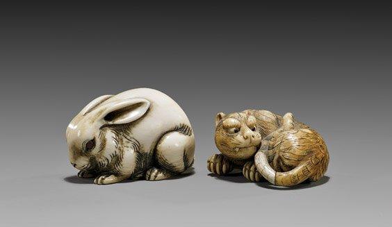 TWO IVORY NETSUKE: Rabbit & Tiger