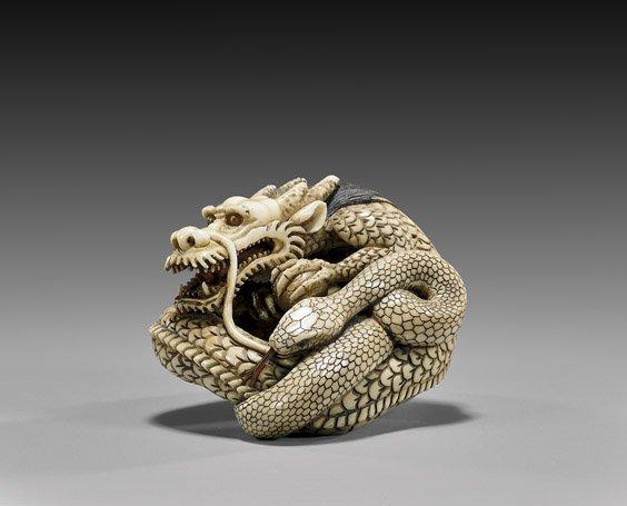 CARVED IVORY NETSUKE: Dragon & Snake