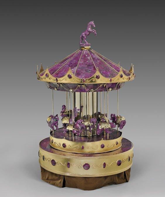 MAGNIFICENT RUBY & GOLD VERMEIL MUSICAL CAROUSEL