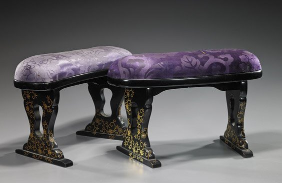 Pair Old Japanese Lacquer & Silk Armrests