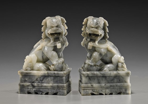 Pair Chinese Carved Soapstone Seated Lions