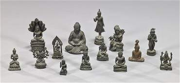 Group of 14 Miniature Asian Bronze Figures