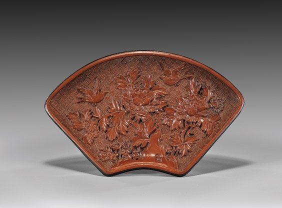"Chinese Red Lacquer ""Fan""-Form Dish"