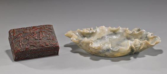 Two Chinese Items: Soapstone Dish & Lacquer Box