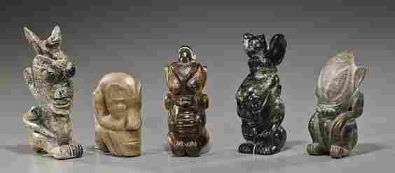 5 Chinese Neolithic-Style Hardstone Figures