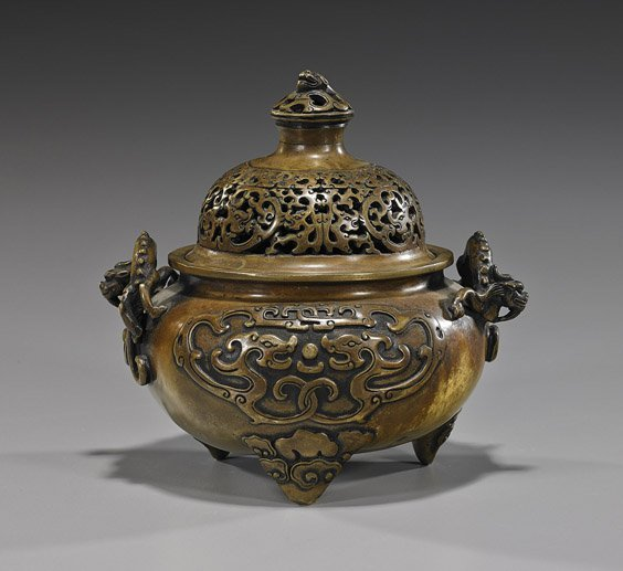 Chinese Bronze Tripod Covered Censer